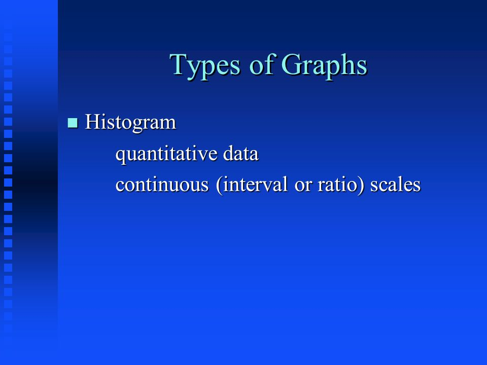 Types of Graphs n Histogram quantitative data continuous (interval or ratio) scales