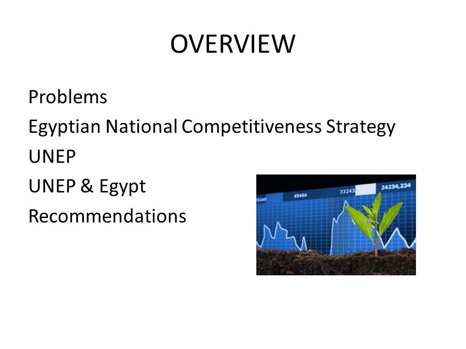 OVERVIEW Problems Egyptian National Competitiveness Strategy UNEP UNEP & Egypt Recommendations