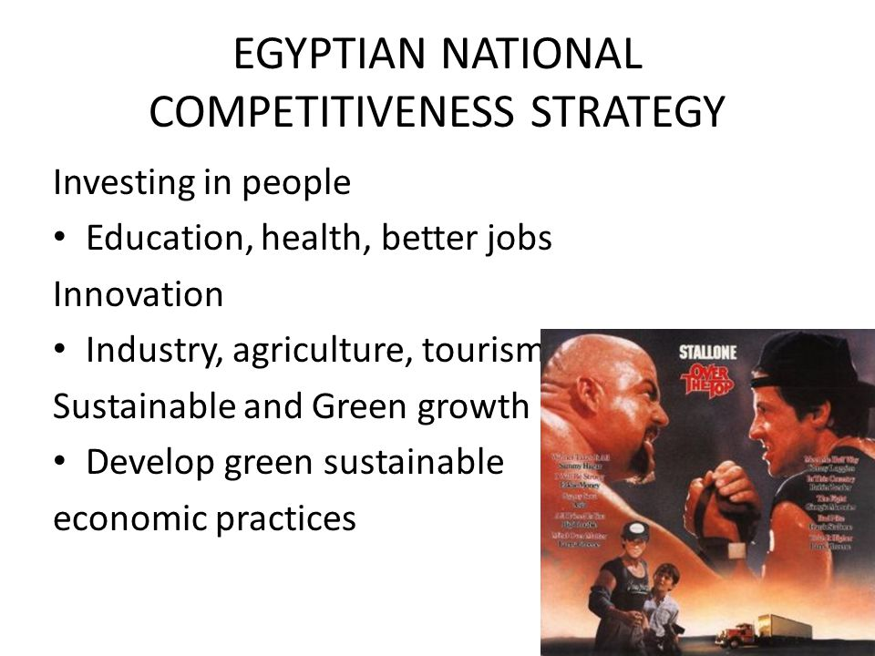 EGYPTIAN NATIONAL COMPETITIVENESS STRATEGY Investing in people Education, health, better jobs Innovation Industry, agriculture, tourism Sustainable and Green growth Develop green sustainable economic practices