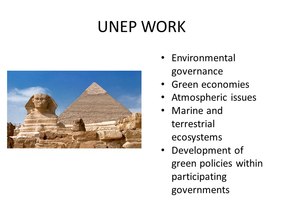 UNEP WORK Environmental governance Green economies Atmospheric issues Marine and terrestrial ecosystems Development of green policies within participating governments