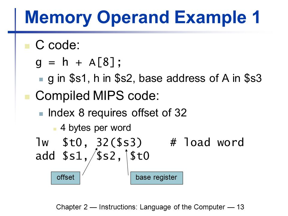 Chapter 2 — Instructions: Language of the Computer — 13 Memory Operand Example 1 C code: g = h + A[8]; g in $s1, h in $s2, base address of A in $s3 Compiled MIPS code: Index 8 requires offset of 32 4 bytes per word lw $t0, 32($s3) # load word add $s1, $s2, $t0 offset base register
