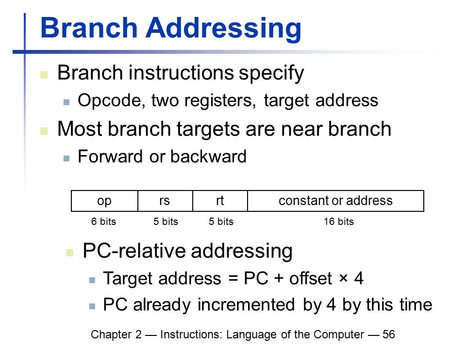 Chapter 2 — Instructions: Language of the Computer — 56 Branch Addressing Branch instructions specify Opcode, two registers, target address Most branch targets are near branch Forward or backward oprsrtconstant or address 6 bits5 bits 16 bits PC-relative addressing Target address = PC + offset × 4 PC already incremented by 4 by this time