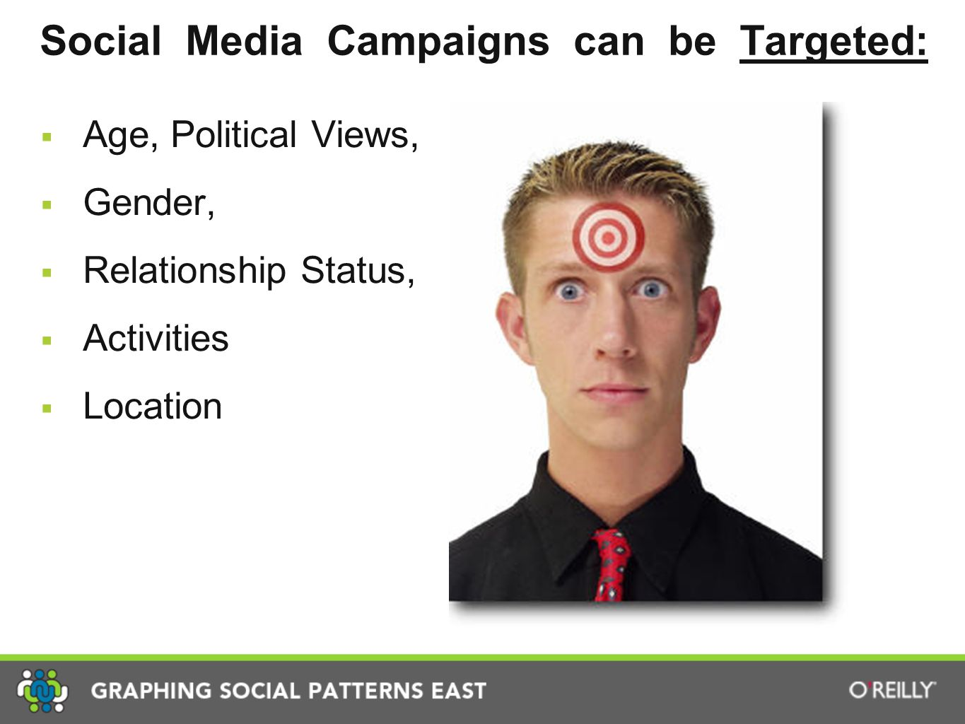 Social Media Campaigns can be Targeted:  Age, Political Views,  Gender,  Relationship Status,  Activities  Location