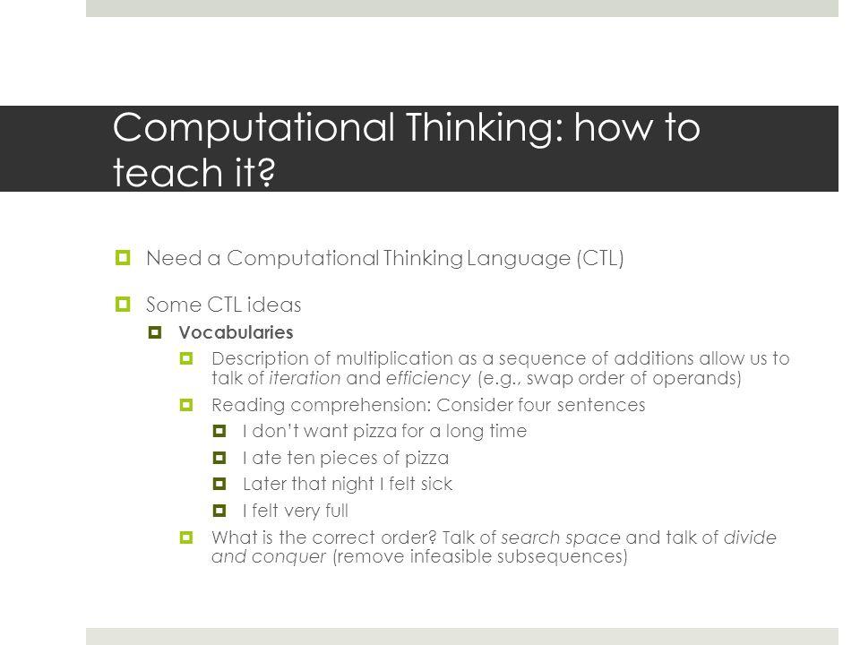 Computational Thinking Enrico Pontelli Department of