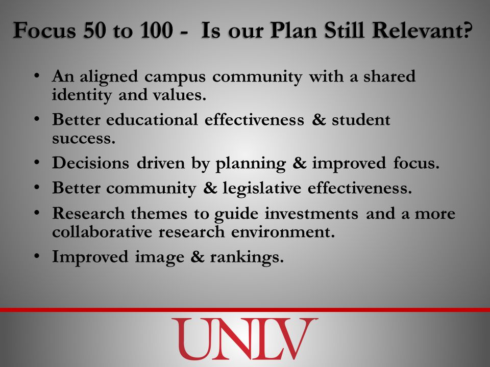Focus 50 to Is our Plan Still Relevant Focus 50 to Is our Plan Still Relevant.