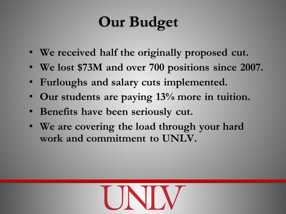 Our Budget We received half the originally proposed cut.