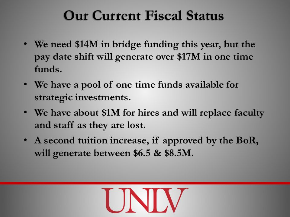 Our Current Fiscal Status We need $14M in bridge funding this year, but the pay date shift will generate over $17M in one time funds.