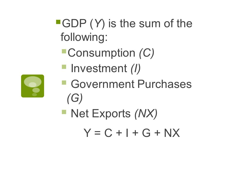  GDP (Y) is the sum of the following:  Consumption (C)  Investment (I)  Government Purchases (G)  Net Exports (NX) Y = C + I + G + NX
