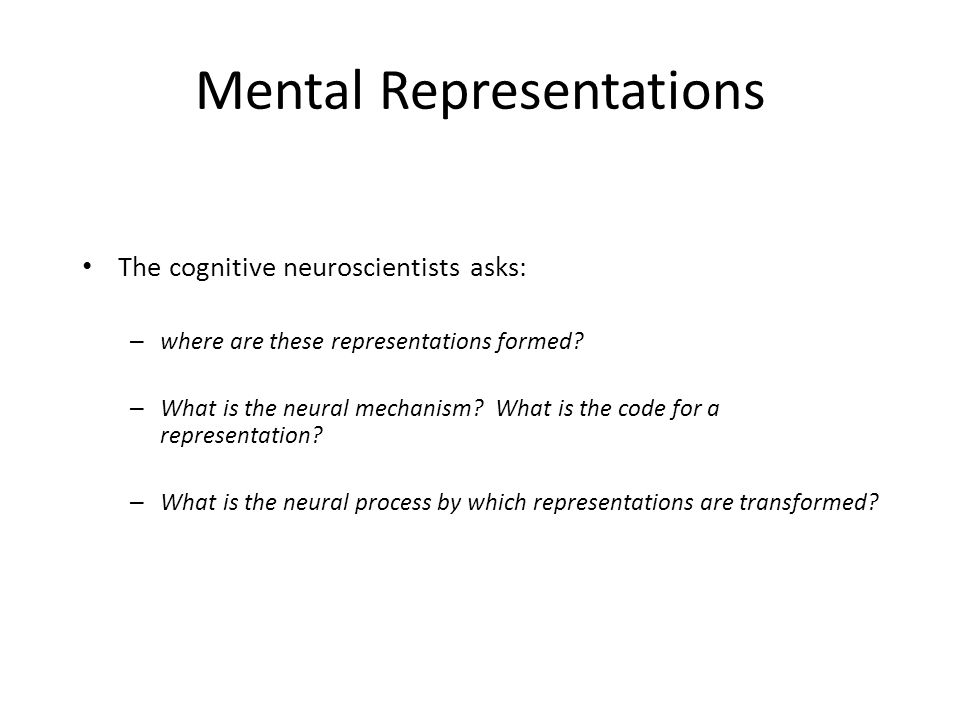 Mental Representations The cognitive neuroscientists asks: – where are these representations formed.