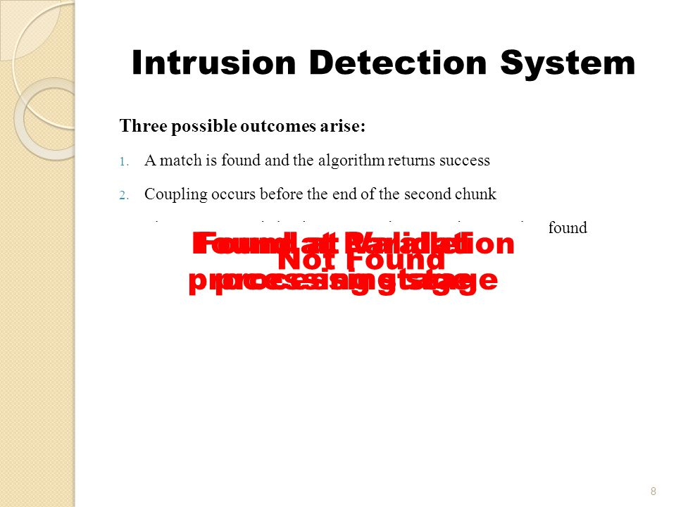 Intrusion Detection System 8 Three possible outcomes arise: 1.
