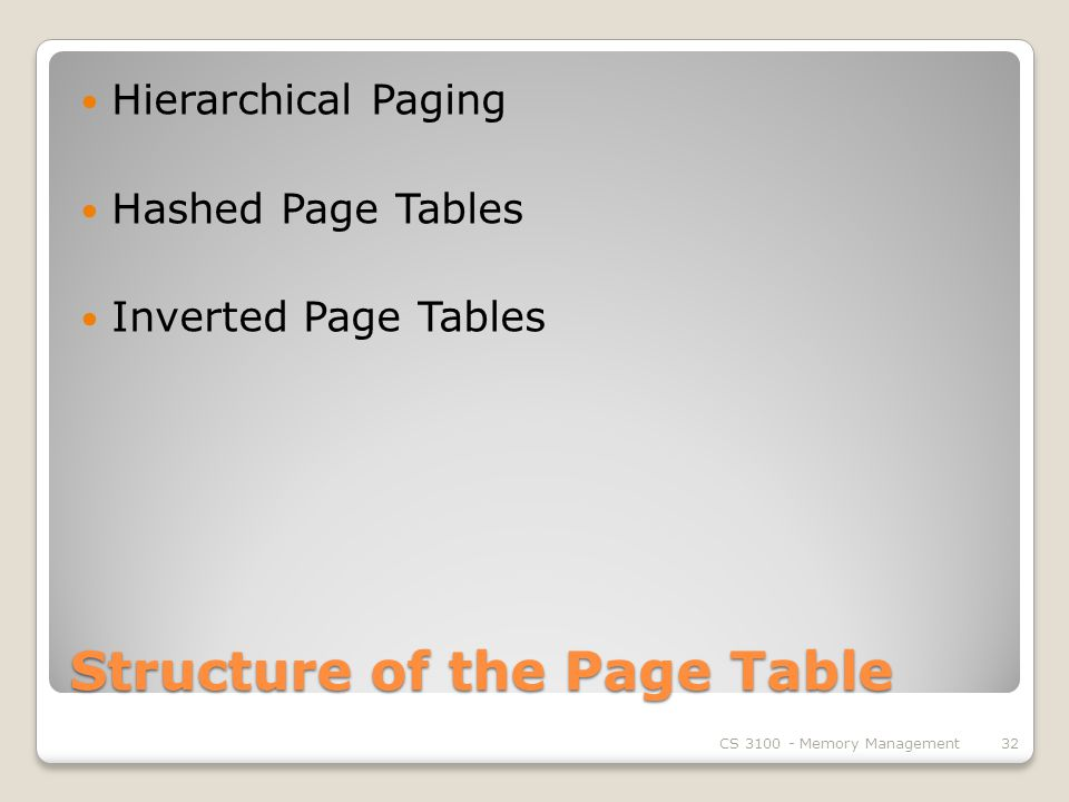 Structure of the Page Table Hierarchical Paging Hashed Page Tables Inverted Page Tables CS Memory Management32