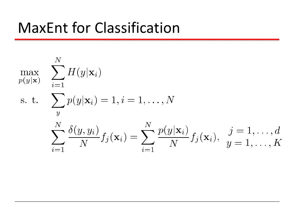 MaxEnt for Classification