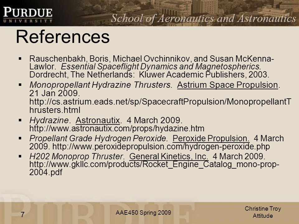 AAE450 Spring References  Rauschenbakh, Boris, Michael Ovchinnikov, and Susan McKenna- Lawlor.