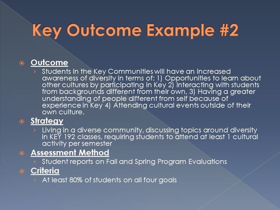  Outcome › Students in the Key Communities will have an increased awareness of diversity in terms of: 1) Opportunities to learn about other cultures by participating in Key 2) Interacting with students from backgrounds different from their own, 3) Having a greater understanding of people different from self because of experience in Key 4) Attending cultural events outside of their own culture.