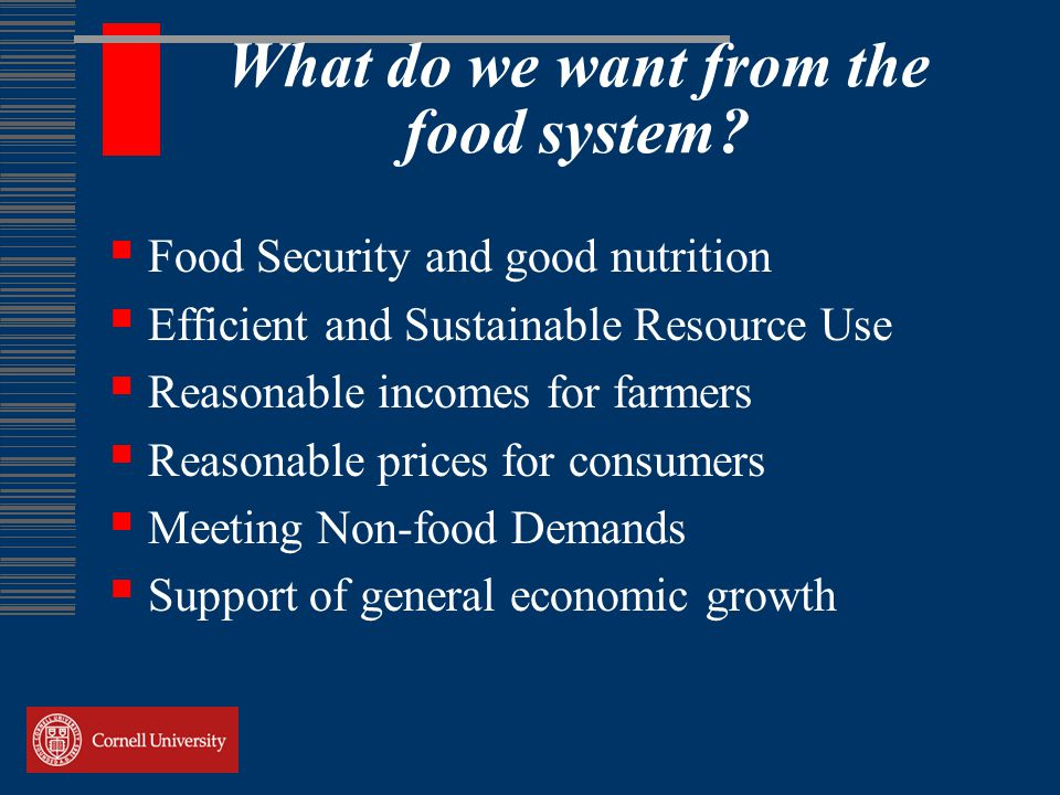 What do we want from the food system.