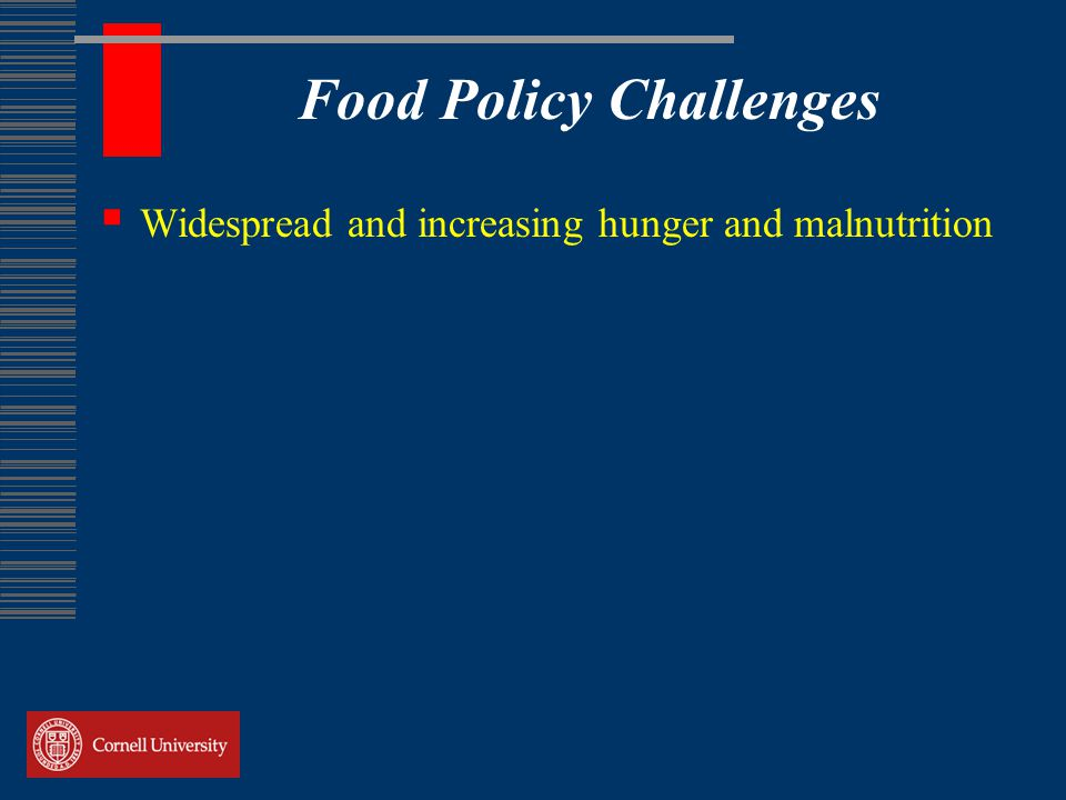 Food Policy Challenges  Widespread and increasing hunger and malnutrition