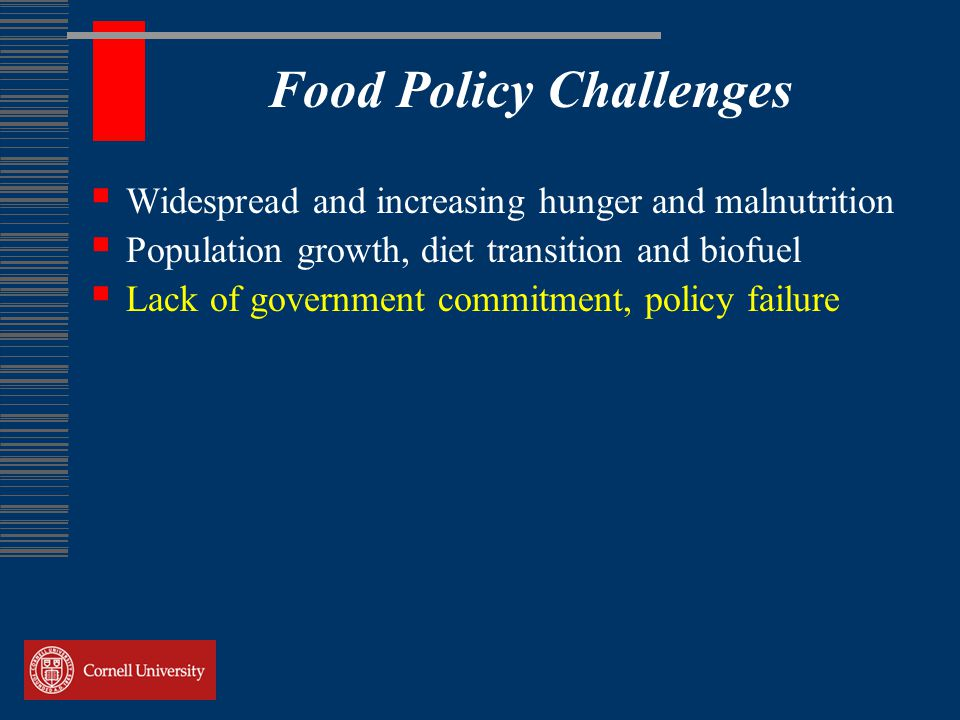 Food Policy Challenges  Widespread and increasing hunger and malnutrition  Population growth, diet transition and biofuel  Lack of government commitment, policy failure