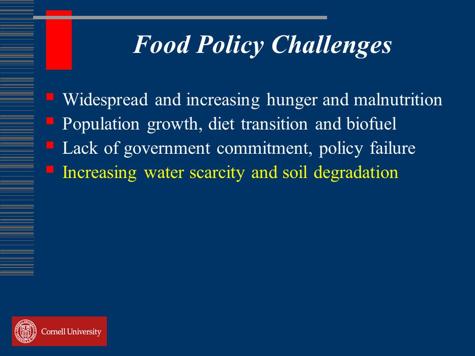 Food Policy Challenges  Widespread and increasing hunger and malnutrition  Population growth, diet transition and biofuel  Lack of government commitment, policy failure  Increasing water scarcity and soil degradation