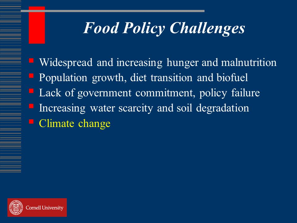 Food Policy Challenges  Widespread and increasing hunger and malnutrition  Population growth, diet transition and biofuel  Lack of government commitment, policy failure  Increasing water scarcity and soil degradation  Climate change