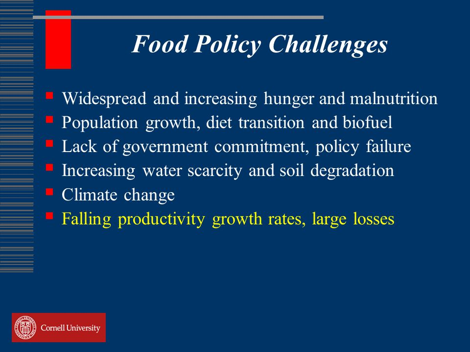 Food Policy Challenges  Widespread and increasing hunger and malnutrition  Population growth, diet transition and biofuel  Lack of government commitment, policy failure  Increasing water scarcity and soil degradation  Climate change  Falling productivity growth rates, large losses