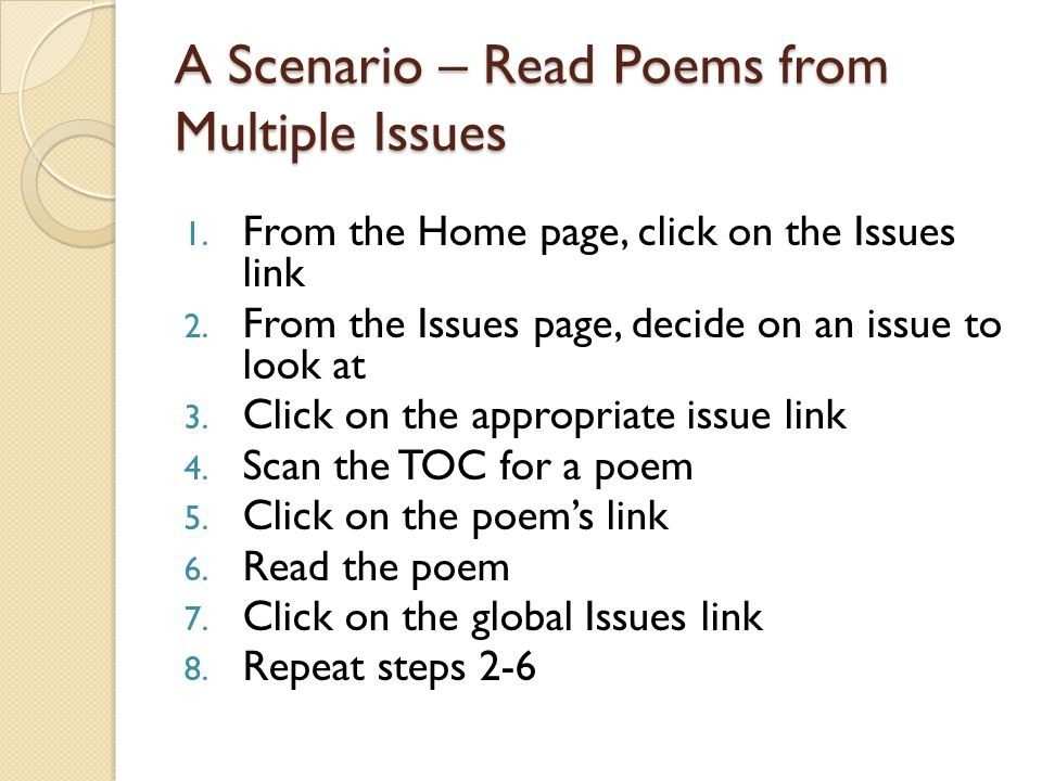 A Scenario – Read Poems from Multiple Issues 1. From the Home page, click on the Issues link 2.