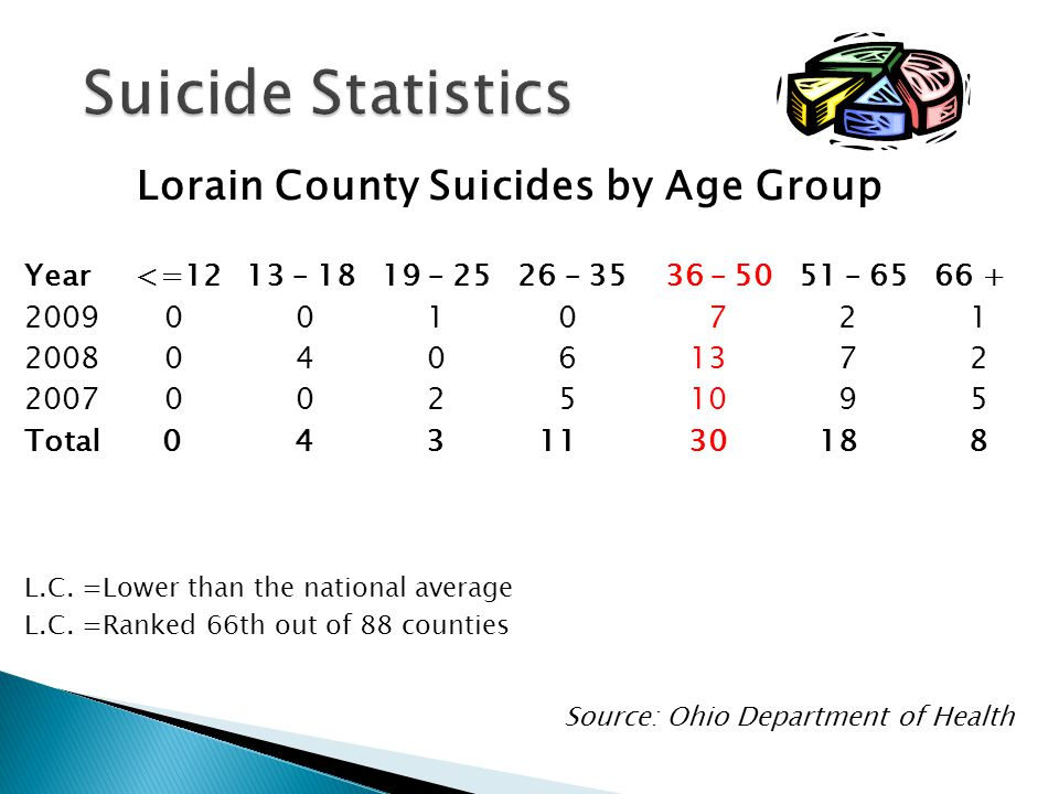 Lorain County Suicides by Age Group Year <=12 13 – – – – – Total L.C.