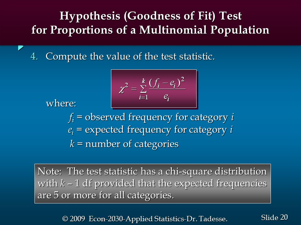 20 Slide © 2009 Econ-2030-Applied Statistics-Dr. Tadesse.