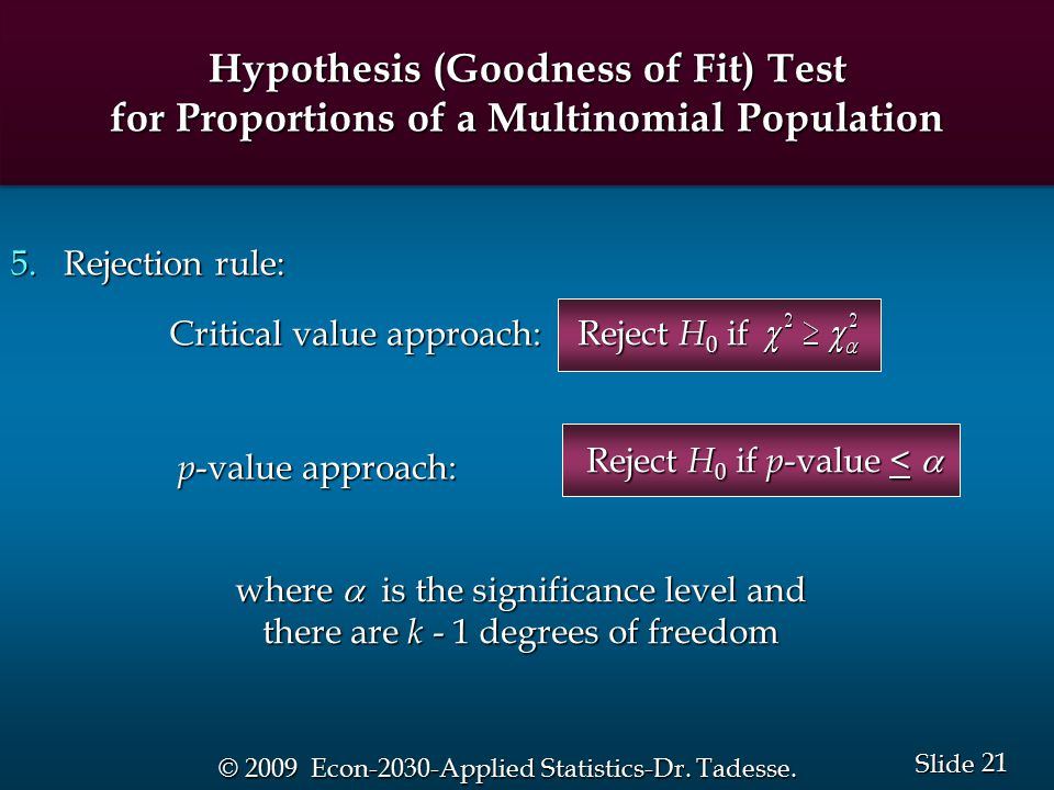 21 Slide © 2009 Econ-2030-Applied Statistics-Dr. Tadesse.