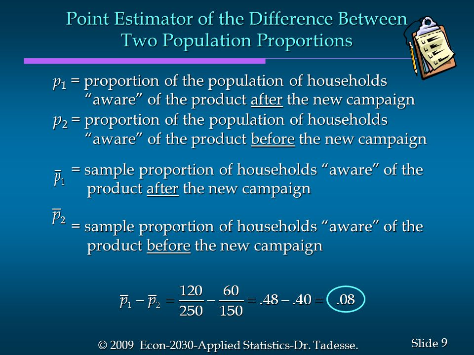 9 9 Slide © 2009 Econ-2030-Applied Statistics-Dr. Tadesse.