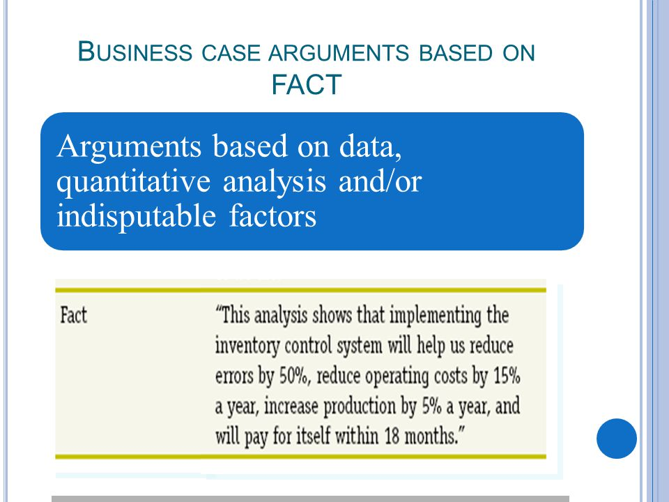 B USINESS CASE ARGUMENTS BASED ON FACT