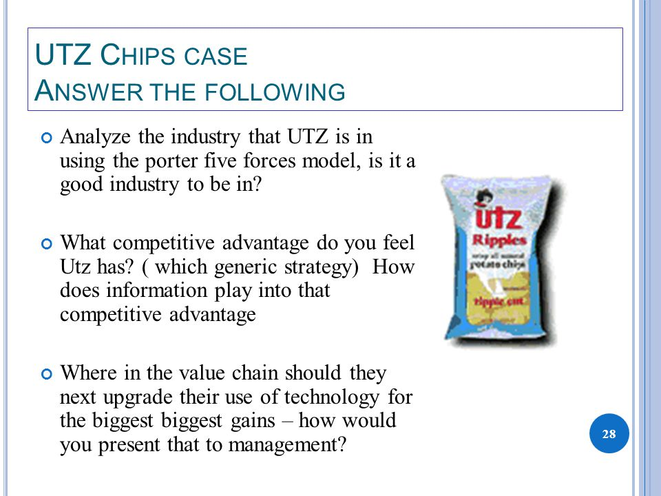 28 UTZ C HIPS CASE A NSWER THE FOLLOWING Analyze the industry that UTZ is in using the porter five forces model, is it a good industry to be in.