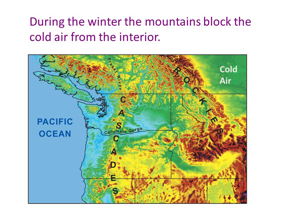 During the winter the mountains block the cold air from the interior. Cold Air