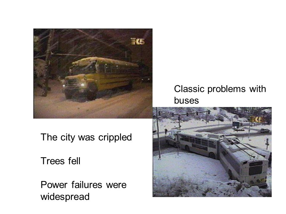 The city was crippled Trees fell Power failures were widespread Classic problems with buses