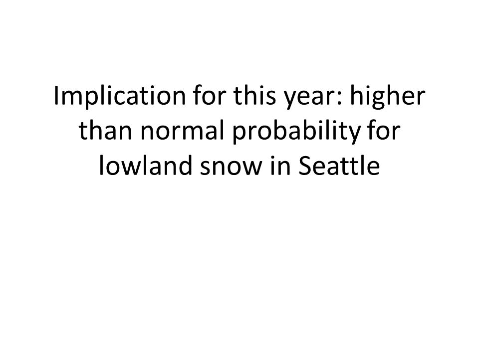 Implication for this year: higher than normal probability for lowland snow in Seattle