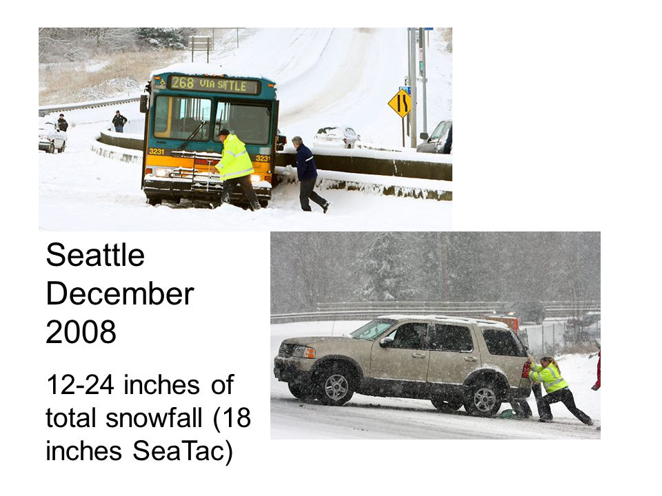 Seattle December inches of total snowfall (18 inches SeaTac)