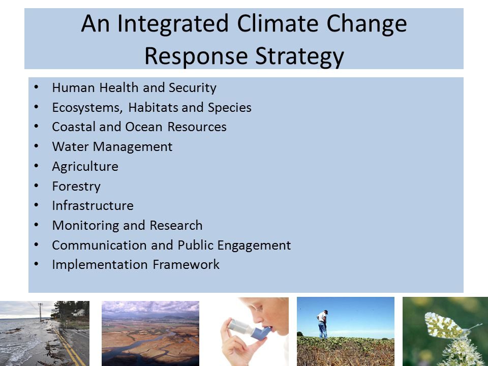 An Integrated Climate Change Response Strategy Human Health and Security Ecosystems, Habitats and Species Coastal and Ocean Resources Water Management Agriculture Forestry Infrastructure Monitoring and Research Communication and Public Engagement Implementation Framework 10