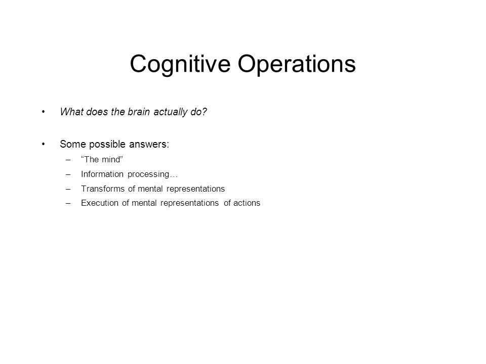 Cognitive Operations What does the brain actually do.