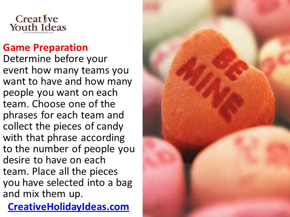 Game Preparation Determine before your event how many teams you want to have and how many people you want on each team.