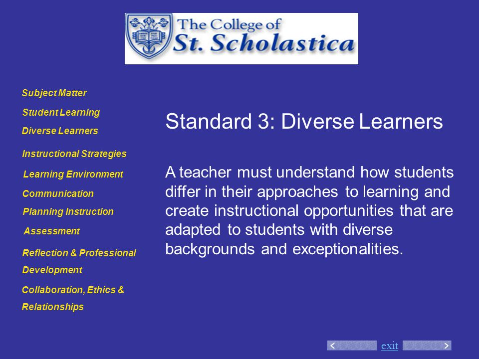 exit Standard 3: Diverse Learners A teacher must understand how students differ in their approaches to learning and create instructional opportunities that are adapted to students with diverse backgrounds and exceptionalities.
