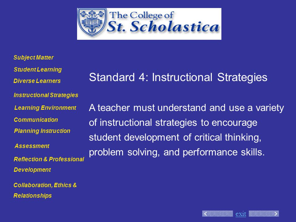 exit Standard 4: Instructional Strategies A teacher must understand and use a variety of instructional strategies to encourage student development of critical thinking, problem solving, and performance skills.