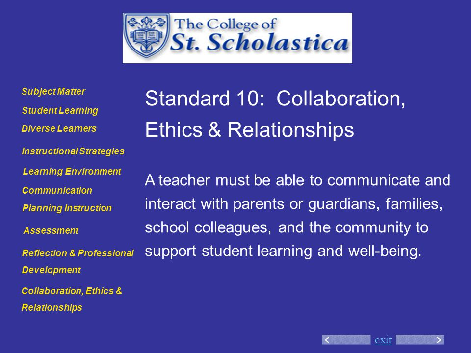 exit Standard 10: Collaboration, Ethics & Relationships A teacher must be able to communicate and interact with parents or guardians, families, school colleagues, and the community to support student learning and well-being.