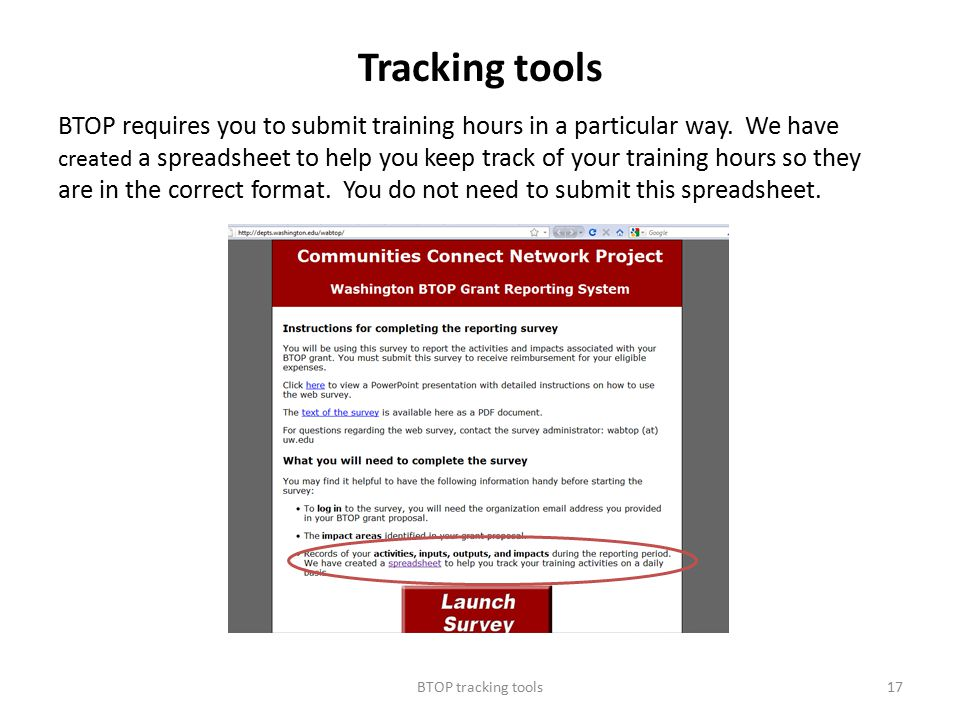 Tracking tools BTOP requires you to submit training hours in a particular way.