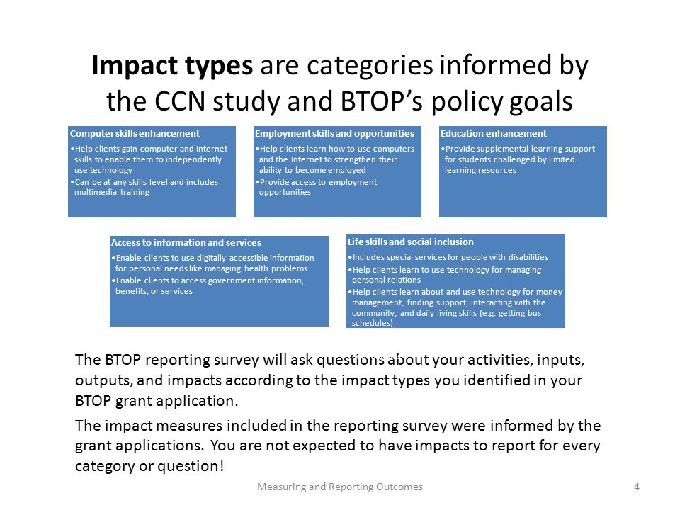 The BTOP reporting survey will ask questions about your activities, inputs, outputs, and impacts according to the impact types you identified in your BTOP grant application.