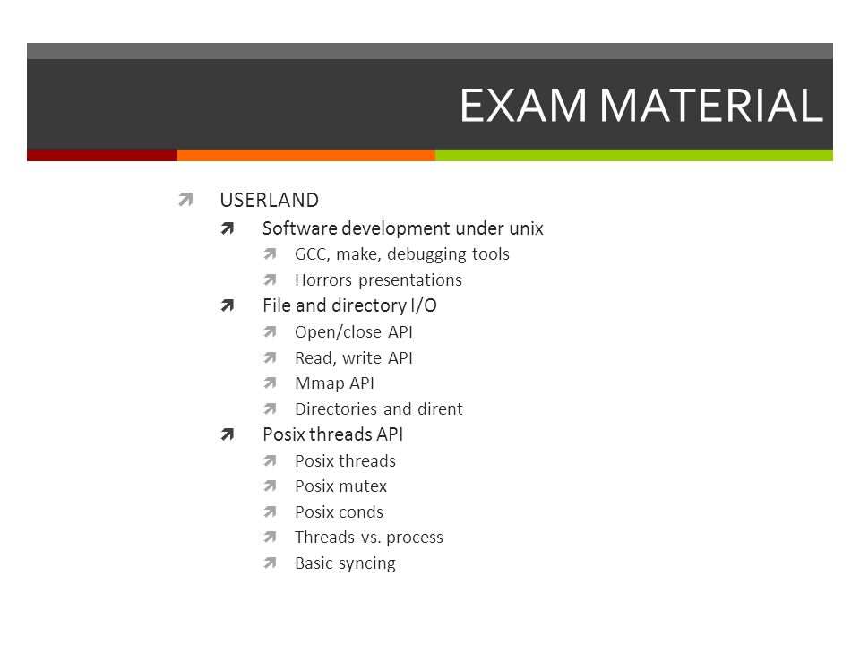 Preparing to the exam  Agenda  EXAM MATERIAL (FOR THE 100 TIME