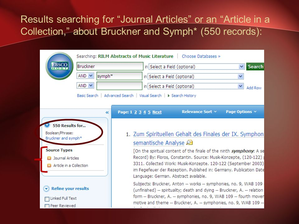 Results searching for Journal Articles or an Article in a Collection, about Bruckner and Symph* (550 records):