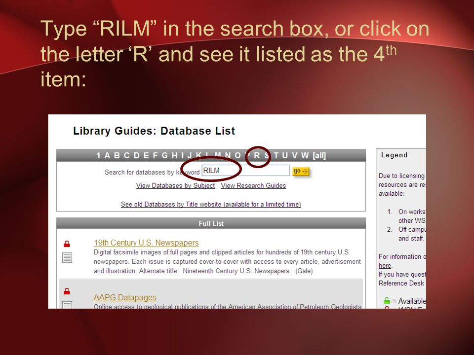 Type RILM in the search box, or click on the letter 'R' and see it listed as the 4 th item: