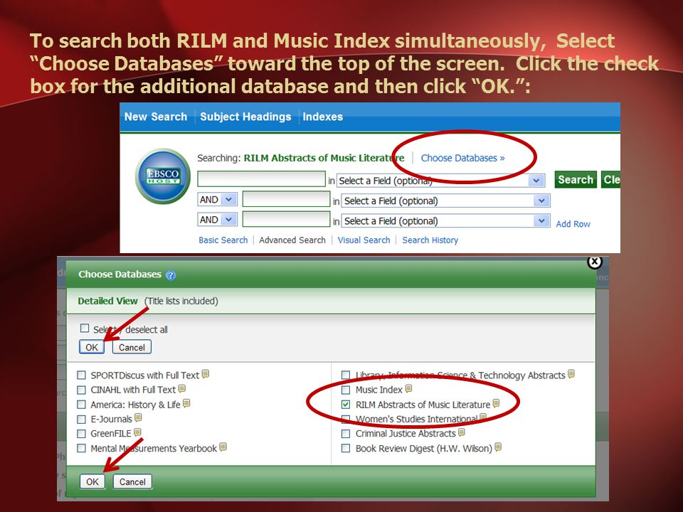 To search both RILM and Music Index simultaneously, Select Choose Databases toward the top of the screen.