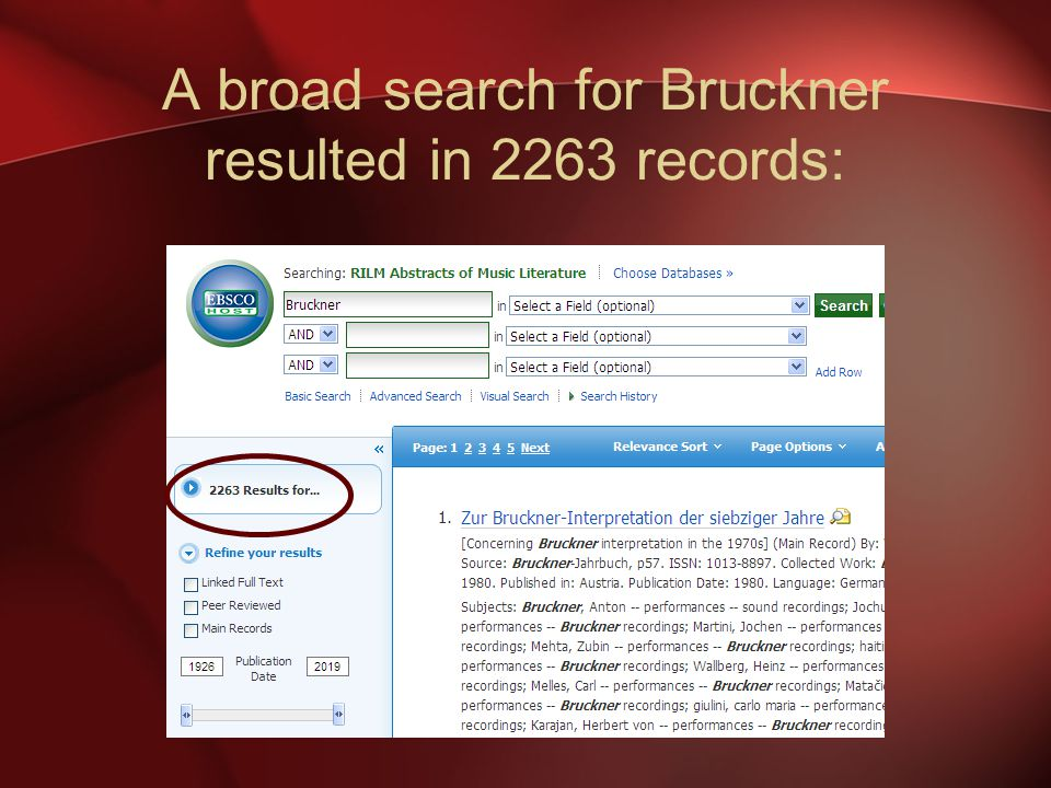 A broad search for Bruckner resulted in 2263 records: