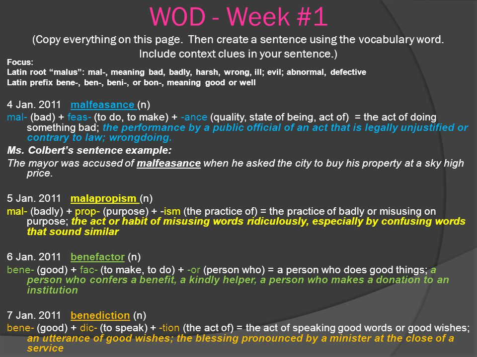 Wod Week 1 Copy Everything On This Page Then Create A Sentence