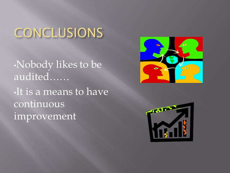 CONCLUSIONS Nobody likes to be audited…… It is a means to have continuous improvement